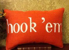 Hook 'Em Orange Burlap Pillow by BurlapPillowsEtc on Etsy