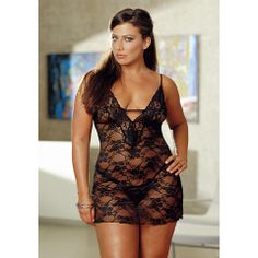 Love the lace detailing!    Stretch Lace Babydoll With Matching G-String, by Dreamgirl  $25.19 at sexylingerie.com