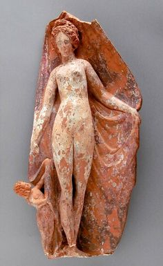 Tanagra figure of Aphrodite with Eros - found Hellas, about 400 B.C. now at the Los Angeles County Art Museum