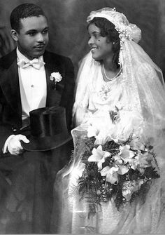 African American Bride and Groom by Black History Album