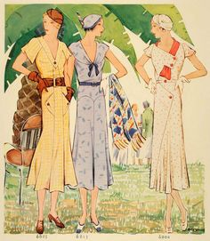 Lovely summertime dresses from McCall's Patterns, 1932. #vintage #1930s #fashion