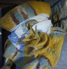 Mustard Nuno felted scarf by Beautifulfelts on Etsy, $60.00