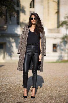 leather pants + long coat