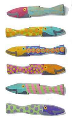 These charming fish are handmade out of salvaged picket fence posts. Each is hand-painted and a true work of art! They are approximately 3 inches wide by 23 inches long. Because of the handmade nature of these fish, the colors will vary slightly. Perfect for your beach house, lake house or bathroom! This is our new Caribbean Colorway! They can be placed outside or hung inside... each has a hook on the back. Custom made upon order placement so may not be returned. Each fish is dated and signed...