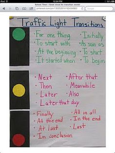 Transition phrases using a traffic light