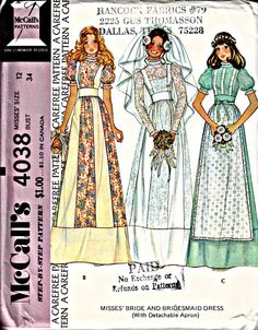 Bohemian 1970s Bridal Gown Pattern McCall's 4038 1974 by ShellMakeYouFlip, $13.50