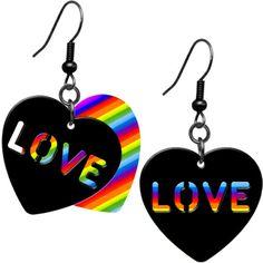 $9.99 Rainbow Pride Heart Love Earrings #love #gay #pride #earrings #piercing