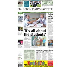 The front page of the Taunton Gazette for Thursday, Aug. 21, 2014.