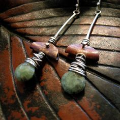 Copper and Opal earrings with sterling silver by coldfeetjewelry, $52.00