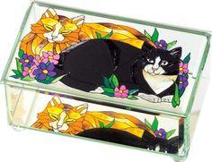 Tiffany Cats Glass Art Trinket Keepsake Box Home Decor