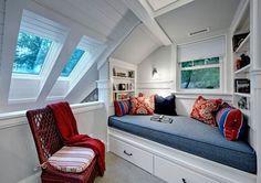 modern reading nook attic bedroom