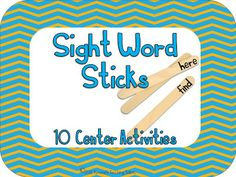 Sight Word Sticks!  10 popsicle stick centers.