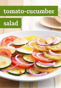Tomato-Cucumber Salad -- Cucumbers, tomatoes and red onions: Summer's brightest trio is smartly dressed and ready to go in this potluck-perfect, healthy living recipe.