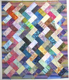 Exuberant Color - zigzag quilt from very very simple block of two rectangles and then set on the diagonal