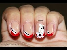 Elegant Red French Tip with Flowers