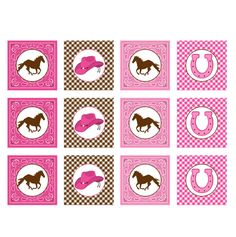 COWGIRL PINK BROWN PRINTABLE CUPCAKE TOPPERS #2