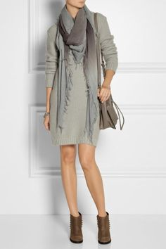 Chan Luu ombre scarf with mini dress and booties.