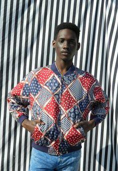 80s 90s Hip Hop Skater Polka Dot Stripe Bandana Silk Bomber