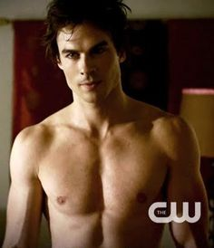 Damon Salvatore. He is on The Vampire Diaries. Yummy. His real name is Ian Somerhalder and my only hope to play Christian Grey in the 50 Shades of Grey movie.