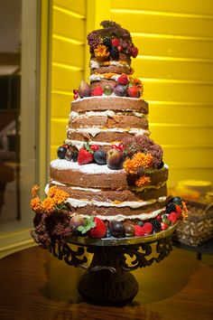 naked wedding cake | Mike B photography
