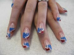 Red, White, and Blue Marble French Nails