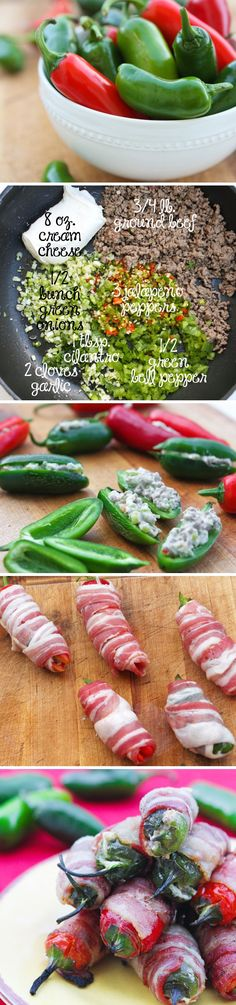 Bacon wrapped  jalapeno peppers.  I use chicken and we call them Texas Poppers!!