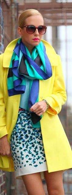 Street Style | Yellow and Blue | http://preppypearls.tumblr.com/post/44659193857