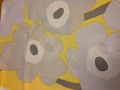 2 Yards Marimekko Unikko Yellow Gray Flowers Vintage Print Fabric