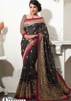 USD 43.41 Black Silk Resham Work Party Wear Saree  36670