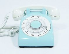 Ice Blue Phone Vintage rotary dial telephone $68.00