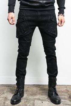 Avant Garde Mens Fashion Coated Wax Black Pocket Skinny Jeans Gentlershop | eBay