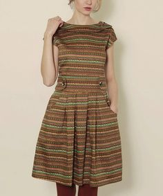 Take a look at this Green Folk Meyer Dress by Titis Clothing on #zulily today!
