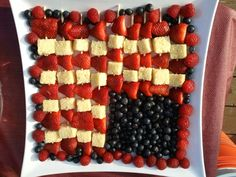Fruit Kabob Flag - Strawberries, Raspberries, Vanilla Bean Pound Cake, and Blueberries