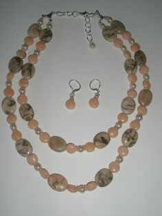 Peach Marble Double strand  Necklace with  Graphic by yasmi65, $32.00