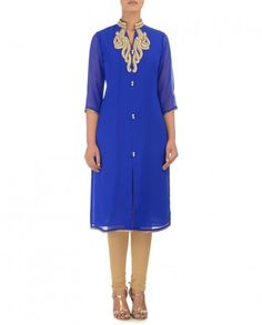 Royal Blue Tunic with Zari Work- Buy Tunics & Tops,Style Essentials Online | Exclusively.in