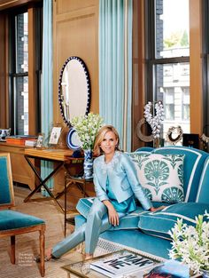 Tory's Burch office in Manhattan - blue sofa with white tape trim