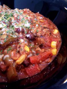 Slow Cooked Mild Turkey Chili - a tasty way to get your fiber:)