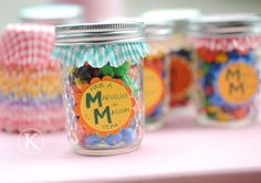 Teacher back to school gifts - jar of M with cupcake liner inside lid and cute tag. cheap easy quick cute