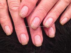 Gelux gold glitter gel polish tips with Las Vegas gelish gel polish