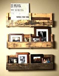 Repurposed wooden pallets as rustic shelves.