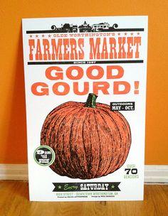 GOOD GOURD! Pumpkin Letterpress Poster. #halloween #pumpkin #poster #etsy