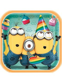 "Despicable Me 9"" Plates birthday parti, dinner plates, babi parti, despic, collin parti, minion parti, 2nd birthday, bday parti, parti idea"