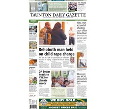 The front page of the Taunton Daily Gazette for Saturday, Sept. 20, 2014.