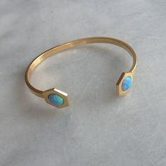 Dual Hex Gold Cuff (blue opal inlay)