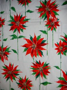 Vintage 1960s Christmas Tablecloth-52x76 Oval-Poinsettia