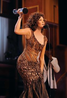 This Tony Ward Couture gown sparkling with Swarovski crystals and worn by legend Whitney Houston to receive a BET Honors Award for her career in 2010, was selected by the GRAMMY Museum as the centerpiece of their new exhibition!
