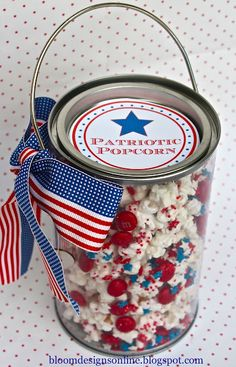 Patriotic Popcorn labels and recipe for 4th of July