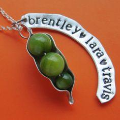 Fully Customizable Peapod Necklace. $50.00, via Etsy.