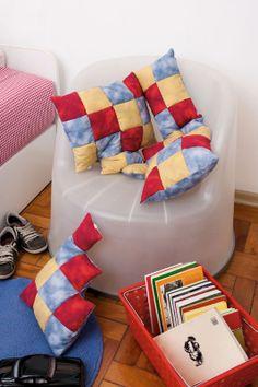 Almofadas de patchwork com velcro