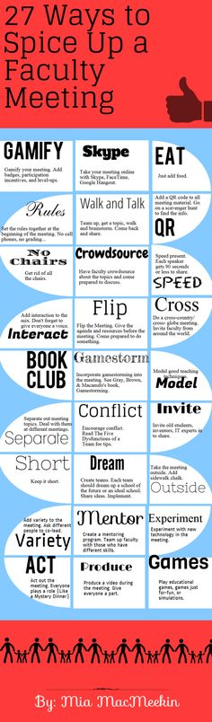 27 Ways to Spice up a Faculty Meeting. school faculty meeting ideas, classroom, school principal ideas, ideas for principals, faculti meet, educ, teacher, faculty meetings, spices